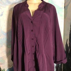 Essentials  Purple Pin-Tuck Button Down Tunic Top